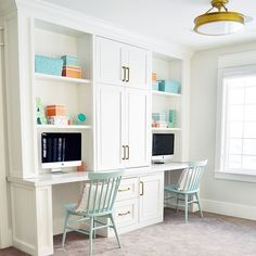 Loft area features a built in desk for two. Cabinet paint color is Benjamin Moore Simply White. Sita Montgomery Design Loft area features a built in desk for two. Cabinet paint color is Benjamin Moore Simply White. Kids Office, Home Office Space, Home Office Design, Office Desks, Study Office, Office Style, Office Built Ins, Built In Desk, Desk For Two