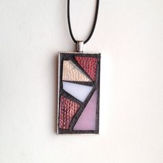 "Gorgeous abstract style pink stained glass mosaic pendant. Silver-plated base with 18"" waxed cotton cord. Hand created by NiagaraGlassMosaics on Etsy"