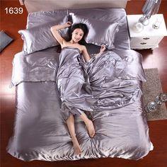 Wholesale Silk Sheets China Silk Bedspreads Bed Linen Cotton 4pcs of Blue Silk Duvet Cover Sets Bedsheet Pillowcase Freeshipping