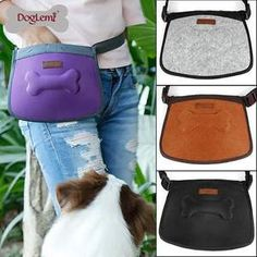 Dog Treat Bag Pet Training Pouch Bag Outdoor Pouch Food Bag Hands-Free Walking Storage for Treats Toys Training Accessories Color: Purple, Black, Grey, Brown Dog Training Treats, Agility Training For Dogs, Dog Agility, Dog Pouch, Dog Bag, Dog Treat Bag, Treat Bags, Puppy Pads, Cheap Pets