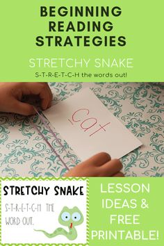 Are you looking for help getting your child to sound out words while reading. Check out this post about the super important reading strategy, Stretchy Snake. It includes tons of instructional ideas and a free printable! Beginning Reading, Guided Reading, Teaching Reading, Teaching Kids, Learning, Hard Words, Small Words, Spelling Words, Cvc Words