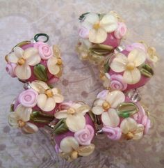 BLISS Pale Yellow Wild Blossom and Rosebud on Orchid Lampwork Bead Set