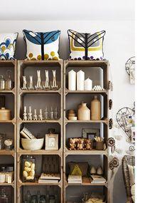 crates as shelves (via The Design Files) Crate Shelves, Crate Storage, Cubby Shelves, Shelf Display, Wall Storage, Wooden Shelves, Kitchen Storage, Store Interiors, The Design Files