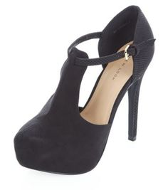 Chaussures noires avec barre en T, talons et brides de cheville