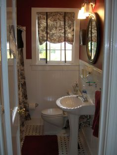 red toile bathroom | Tiny red bathroom - Bathroom Designs - Decorating Ideas - HGTV Rate My ...