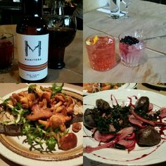 Bonjour @Montreal! First dinner at Manitoba restaurant (opened 6 months ago). Fantastic Gin and Jam cocktail with juniper berry jam and good house microbrew. Chanterelles on toast and gizzards. Both great.  #FMFinMontreal