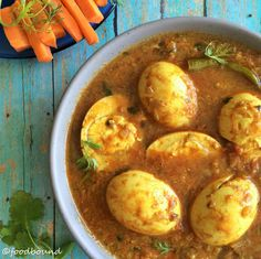 A simple, flavorful curry that comes together in 30 minutes and tastes great with plain rice! Substitute eggs with potatoes for vegan. Curry Recipes, Egg Recipes, Side Dish Recipes, Indian Food Recipes, Soup Recipes, Cooking Recipes, Healthy Recipes, Banting Recipes, Indian Foods