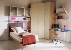 Inspirational pictures of kids' bedroom designs from Italian maker Mariani. Shows kids study table, shelves and other furniture. Wardrobe Furniture, Wardrobe Design Bedroom, Kids Room Furniture, Bedroom Decor, Bedroom Cupboard Designs, Bedroom Cupboards, Modern Kids Bedroom, Kids Bedroom Designs, Stylish Beds