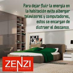 Para dejar fluir la energía en la habitación evita albergar televisores y computadores, estos se encargan de distraer el descanso. Ver diseños en http://zenzi.com.co/ambientes/dormitorio/