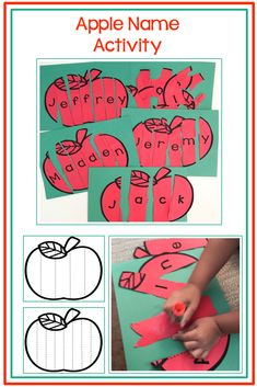 Apple Name Activity for the preschool classroom Apple Activities Kindergarten, Preschool Apple Theme, Preschool Names, Abc Activities, Kindergarten Apples, Preschool Apples, Fall Preschool, Preschool Letters, Children Activities
