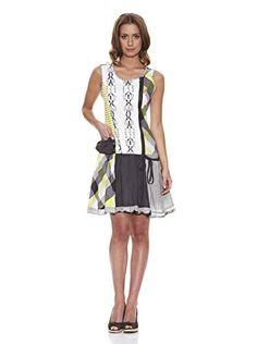 it.buyvip.com Peace and love Abito patchwork look con dettagli sfrangiati.