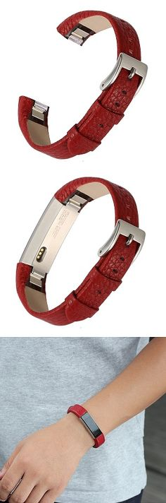BAYITE LEATHER REPLACEMENT BANDS FOR FITBIT ALTA – RED