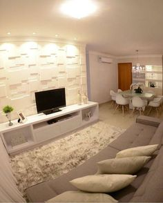 43 Amazing TV Wall Decor Ideas for Living Room Home Living Room, Living Room Designs, Living Room Decor, Tv Wanddekor, Tv Wall Decor, Style At Home, Small Apartments, Design Case, Sweet Home