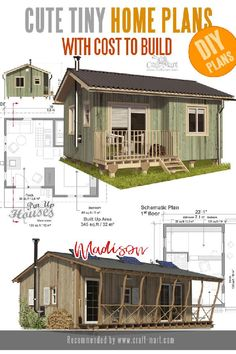 Look at our list of the adorable cabins and tiny homes that you can build yourself! Learn the basics from an excellent guide that will teach you all the steps needed for construction. Unique Small House Plans, Micro House Plans, A Frame House Plans, House Plan With Loft, Small House Floor Plans, Tiny Cabin Plans, Small Cabin Designs, Simple Floor Plans, Tiny House Exterior