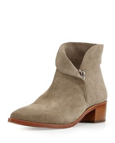 VC Signature Reinah Side-Zip Suede Ankle Bootie, Roccia Gray