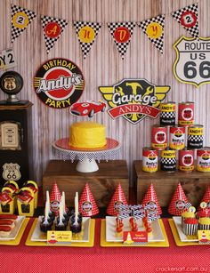 Retro Race Car Birthday {Boy Party Ideas} - Spaceships and Laser Beams Hot Wheels Party, Race Car Birthday, Race Car Party, 2nd Birthday, Birthday Hats, Carnival Birthday, Birthday Party Desserts, Cars Birthday Parties, Birthday Ideas