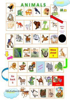 Animals board game worksheet - Free ESL printable worksheets made by teachers English Games For Kids, English Fun, English Lessons, Learn English, English Activities, Language Games For Kids, Speaking Games, Printable Board Games, Printable Worksheets
