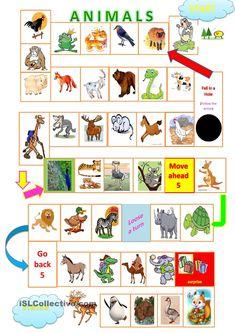 Animals board game worksheet - Free ESL printable worksheets made by teachers Fun English Games, English Worksheets For Kids, English Fun, English Lessons, Learn English, English Activities, Teaching English Grammar, English Vocabulary, Math For Kids