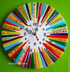 часы из стекла, фьюзинг Шапито - Лилия Горбач,стекло,Фьюзинг,часы,купить часы