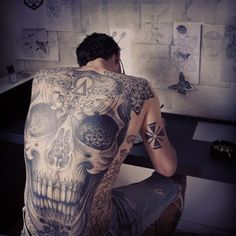 Skull tattoo by Jondix