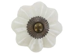 Medium Cream Crackle Scalloped Ceramic Knob