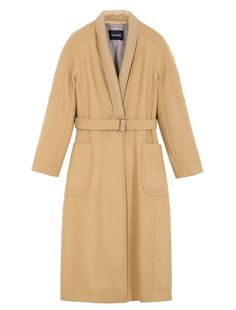 MAX&Co. - Robe coat with knit collar, Dark Brown - Robe coat in fabric with double treatment. Shawl collar in ribbed knit. Straight silhouette. Soft styling. Calf length. Fabric belt with metal buckle. Concealed fastening with snap closure. Kimono sleeves. Long sleeves. Applied pockets. Personalised lining. - Free Shipping and Returns!