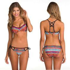 Women Sexy Two Pieces Sleeveless Backless Strap Geometric Print Swimwear Beach Wear Swimsuit Bikini Set