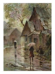 Summer Downpour by LaVere Hutchings love this painting, it brings a sense of peace to me! Art Aquarelle, Art Watercolor, Watercolor Landscape, Rain Art, Umbrella Art, Art Et Illustration, Illustrations, Beautiful Paintings, Painting Inspiration