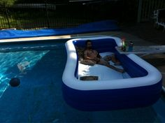 Put a pool in a pool for an awesome outdoor waterbed. This would be fun for overnight!