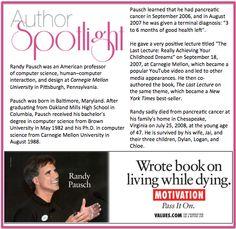 Today's #AuthorSpotlight is #RandyPausch #NewYorkTimesBestSeller #Leader #RoleModel #LastLecture