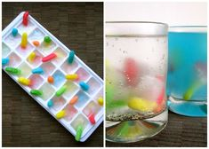 gummy worm ice cubes! perfect for halloween drinks