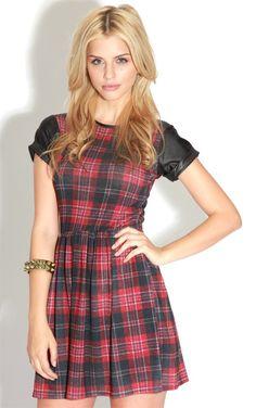 Kat Red Tartan Skater Dress