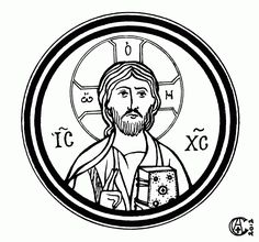 Iconographic rondel, pen and ink, by Christabel Anderson