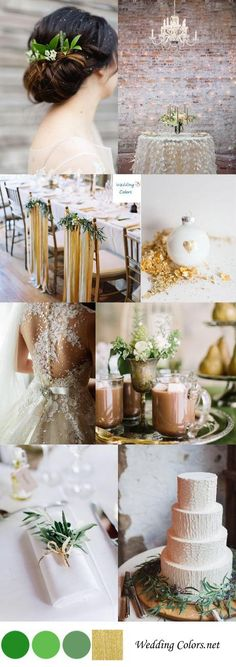 Green & Gold Winter Wedding Palette