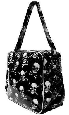 Rockabilly Mom Punk Rock Skull and Cross Bones Diaper Bag / Weekend Bag - Skelapparel Miranda Kerr, Punk Rock Baby, Punk Rock Princess, Gothic Baby, Weekender, Rockabilly Baby, Skull Purse, Baby Bats, Kids Bags