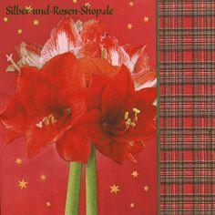 20 Papierservietten Rote Amaryllis Schottenkaro günstig kaufen