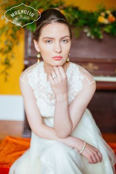 peach styled wedding shoot, earrings, necklace jewellery: Hattitude Jewellery photos: Magnolia studios piano, flowers, bridal, wedding, fashion
