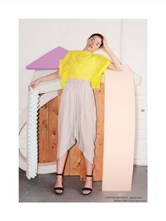 Portland Garment Factory HouseLine SS 14 Cropped yellow boatneck top with baggy pant