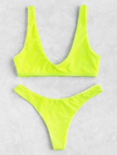 Shop Neon Plunge Neckline High Leg Bikini Set online. SheIn offers Neon Plunge Neckline High Leg Bikini Set & more to fit your fashionable needs.