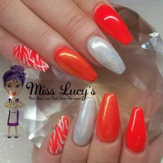 Superfine silver sands design and crystal nails neon orange pigment