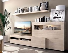 Contemporary wall TV unit system in natural wood with TV unit, cabinet and wall shelf