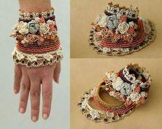 crochet cuff bracelet que lujo by beryl Textile Jewelry, Fabric Jewelry, Freeform Crochet, Bead Crochet, Bracelet Crochet, Mesh Bracelet, Wrap Bracelets, Pandora Bracelets, Jewelry Crafts