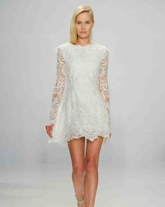 28 Sweet Short Wedding Dresses | Martha Stewart Weddings - This long-sleeve lace dress would be gorgeous at a casual wedding.