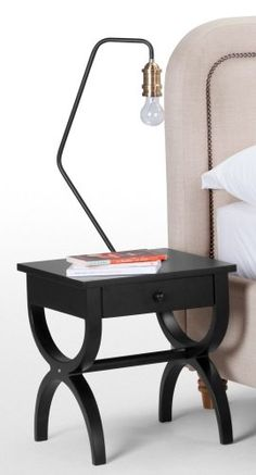 The Leila Bedside Table in Black. With the curves of classic french furniture with a sleek contemporary design. £179 | MADE.COM