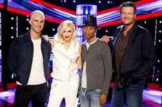NBC+the+Voice+2014+pharrell+williams+&+gwen+stefani | The Voice Judges: Adam Levine, Gwen Stefani, Pharrell Williams, Blake ...