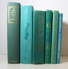 Vintage Instant Book Decor Collection of Teal by DecadesOfVintage  for living room