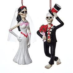 DAY OF THE DEAD Bride and Groom Ornaments Set of 2 Halloween Wedding