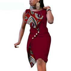 online shopping for pujingge Womens Sleeveless Sexy Irregular Oversize Slim African Pencil from top store. See new offer for pujingge Womens Sleeveless Sexy Irregular Oversize Slim African Pencil African Fashion Ankara, Latest African Fashion Dresses, African Print Fashion, Africa Fashion, Ladies Fashion Dresses, Short African Dresses, African Print Dresses, Short Dresses, African Dress Styles