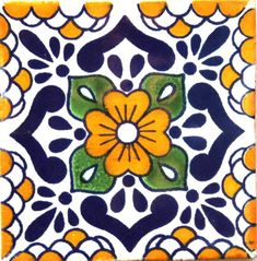 Mexican Talavera Tile - - Hadeda TilesYou can find Mexican art and more on our website. Mexican Paintings, Art Populaire, Talavera Pottery, Mexican Art, Mexican Tiles, Spanish Tile, Beste Tattoo, Blue Pottery, Handmade Tiles