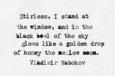 """""""and in the black bowl of the sky glows like a golden drop of honey the mellow moon"""" -Vladimir Nabokov"""
